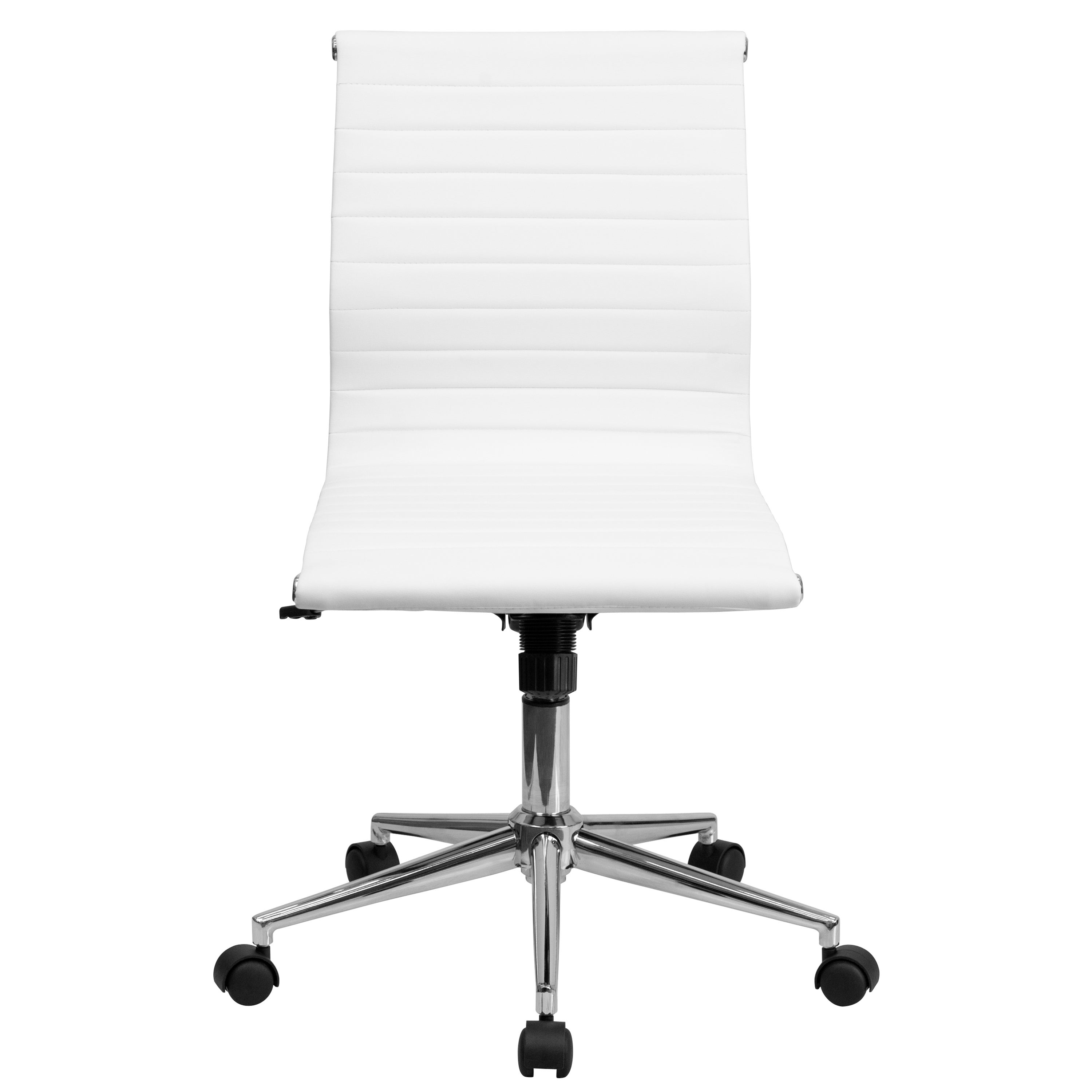 Sleek Armless White Ribbed Leather Swivel Adjustable Office Chair Overstock 11482718