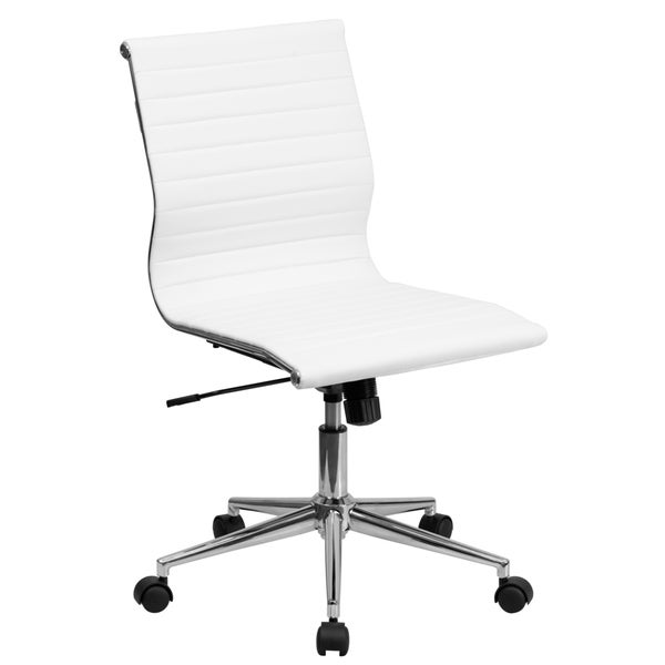 Sleek Armless White Ribbed Leather Swivel Adjustable