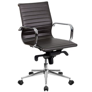 Sleek Brown Ribbed Leather Swivel Adjustable Office Chair