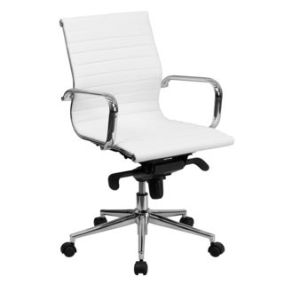 Sleek White Ribbed Leather Swivel Adjustable Office Chair