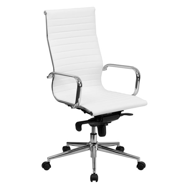 Sleek High Back White Ribbed Leather Executive Adjustable