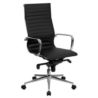 Sleek High-Back Black Ribbed Leather Executive Adjustable Swivel Office Chair