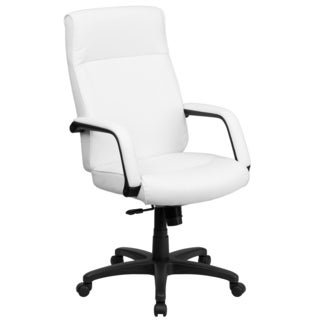 White Leather Executive Adjustable Swivel Office Chair with Memory Foam Padding