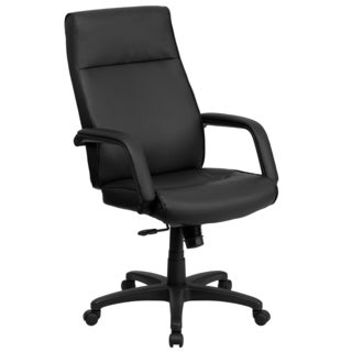 Black Leather Executive Adjustable Swivel Office Chair with Memory Foam Padding