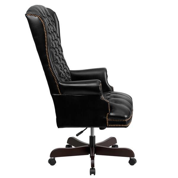 Pleasant Shop Button Tufted Black Leather Adjustable Executive Swivel Evergreenethics Interior Chair Design Evergreenethicsorg