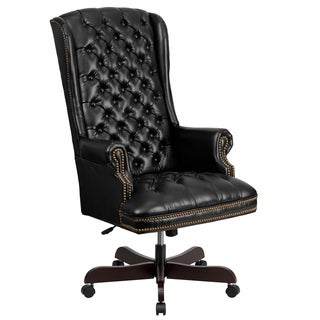 Button Tufted Black Leather Adjustable Executive Swivel Wing Office Chair
