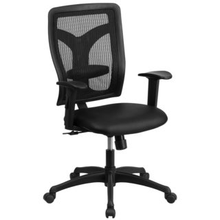 Rubeo Black Mesh Executive Swivel office Chair with Padded Leather Seat and Height Adjustable Arms