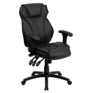 Black Leather Executive Swivel Adjustable Office Chair with Triple Paddle Control and Lumbar Support Knob