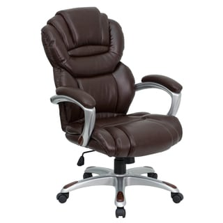 Brown Leather Executive Swivel Adjustable Office Chair with Arms and Silver Colored Base