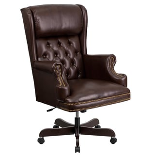 Executive Traditional Button Tufted Brown Leather Swivel Adjustable Office Chair