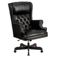 Executive Traditional Button Tufted Black Leather Swivel Adjustable Office Chair