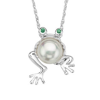 Sterling Silver Pearl and Cubic Zirconia Frog Pendant