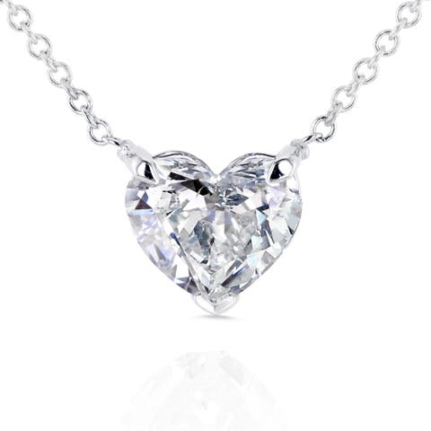 Annello by Kobelli 14k Gold Floating Heart Certified 1ct TDW Diamond Solitaire Necklace (Adjustable 15 or 16 Inches)