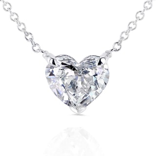 Annello 14k Gold Floating Heart Certified 1ct TDW Diamond Solitaire Necklace (G-I, I1)