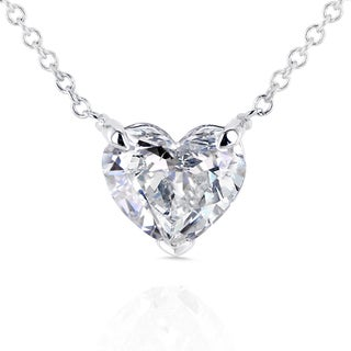 Annello by Kobelli 14k Gold Floating Heart Certified 1ct TDW Diamond Solitaire Necklace