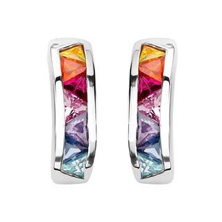 Sterling Silver Multi-color Cubic Zirconia Semi-hoop Earrings