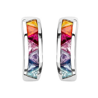 Sterling Silver Multi-color Cubic Zirconia Semi-hoop Earrings
