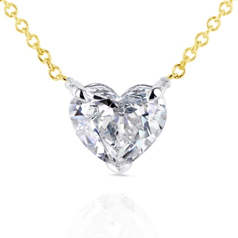 Annello by Kobelli 14k Yellow Gold Floating Heart Certified 1ct TDW Diamond Solitaire Necklace