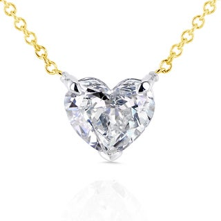 Annello 14k Yellow Gold Floating Heart Certified 1ct TDW Diamond Solitaire Necklace (G-I, I1)