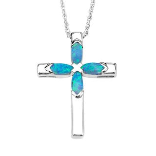 Sterling Silver Opal Cross Pendant