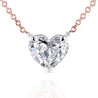 Annello 14k Rose Gold Floating Heart Certified 1ct Diamond Solitaire Necklace (G-I, I1)