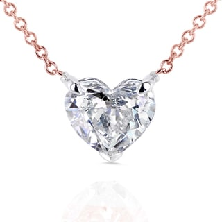 Annello by Kobelli 14k Rose Gold Floating Heart Certified 1ct Diamond Solitaire Necklace