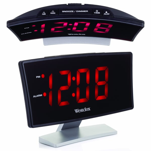 "Westclox LED 1.8"" Curved Display Alarm Clock"