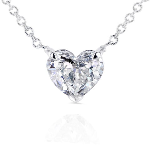 Annello by Kobelli 14k White Gold Floating Heart Certified 3/4ct Diamond Solitaire Necklace
