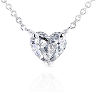 Annello 14k White Gold Floating Heart Certified 3/4ct Diamond Solitaire Necklace (G-I, I1)