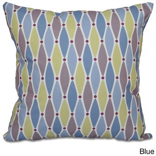 Wavy Splash Geometric Print 26-inch Throw Pillow (Blue)