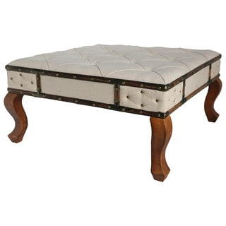International Caravan Rustic Elegance Natural Square Tufted Upholstered Ottoman