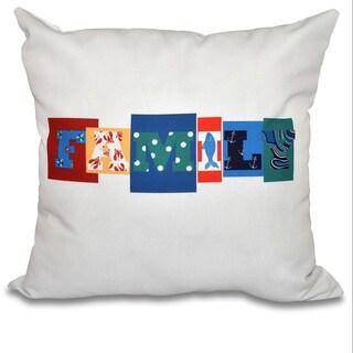 Family Fun Word Print 26-inch Throw Pillow