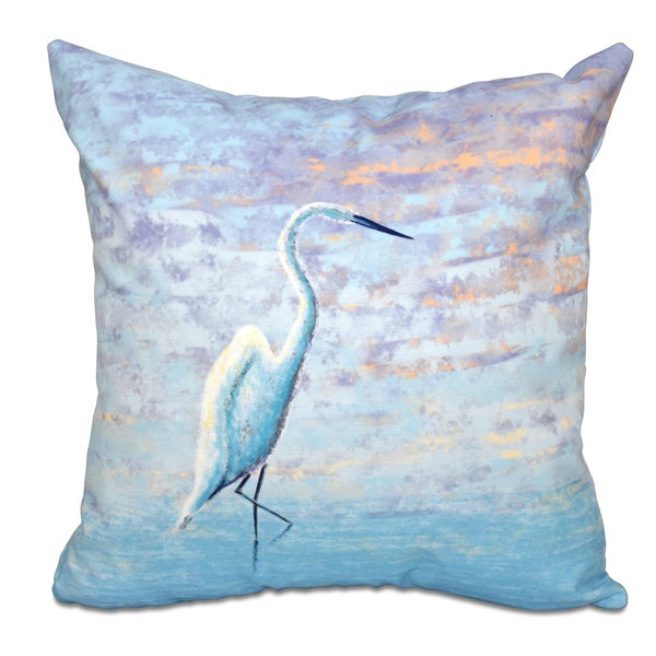 Egret Animal Print 26-inch Throw Pillow