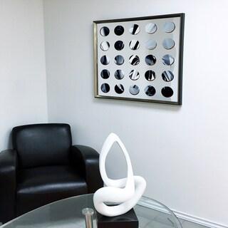 Designart - Modern Mirror 'Sunburst' Green Framed 3D Acrylic Mirror Art - Silver/Grey