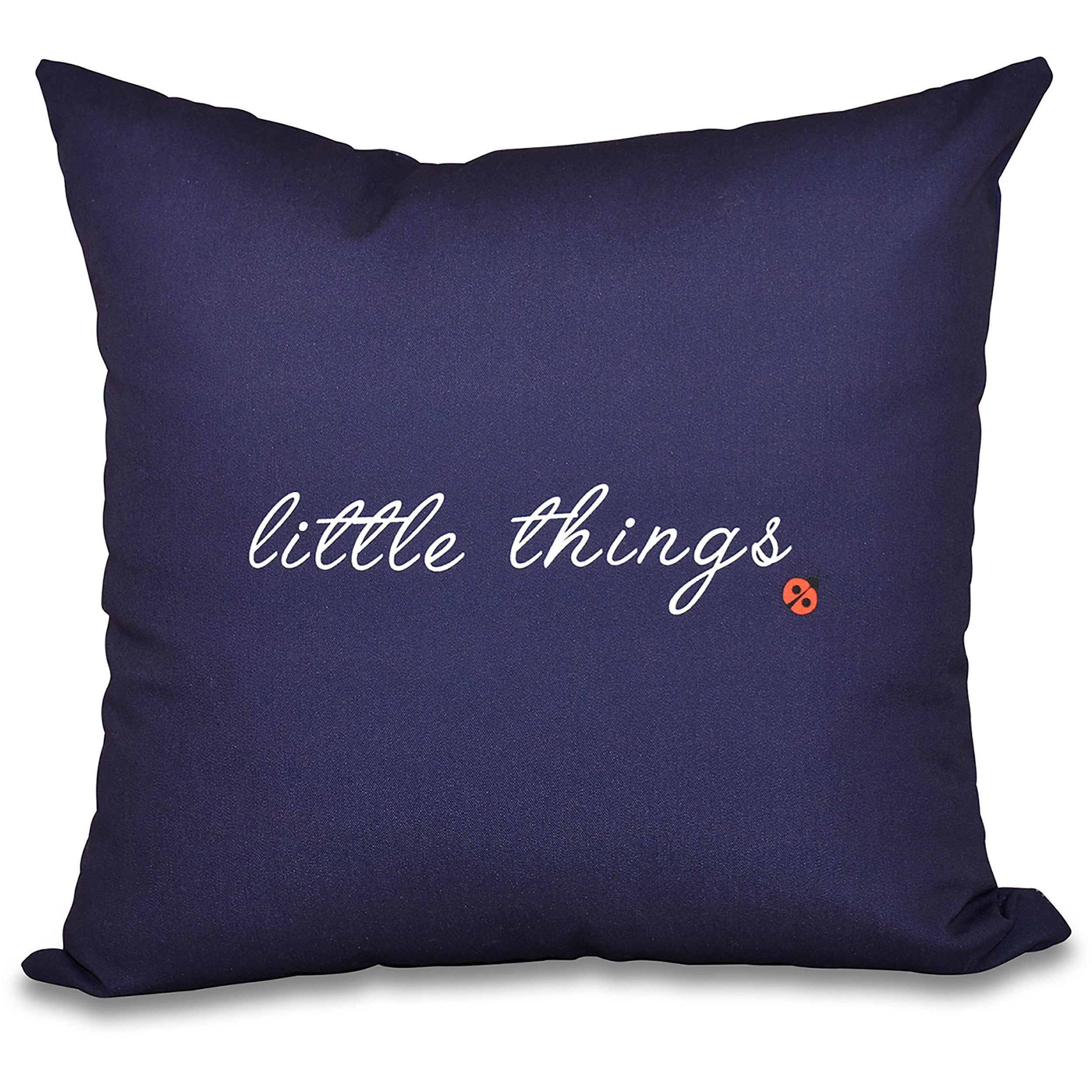 Little Things Word Print 26-inch Throw Pillow (Blue)