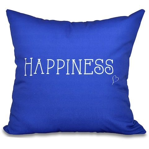 """Happiness Word Print 26-inch Throw Pillow - 26"""" x 26"""""""