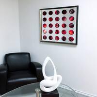Designart Contemporary Mirror Electric Fire Framed 3D Acrylic Mirror - Silver/Grey