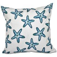 Soft Starfish White Geometric Print 20-inch Throw Pillow