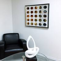 Designart Contemporary Mirror Heart Purple Framed 3D Acrylic Mirror - Silver/Grey