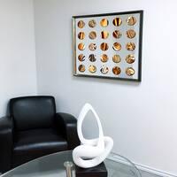 Designart Contemporary Mirror Liquid Blue Framed 3D Acrylic Mirror - Silver/Grey