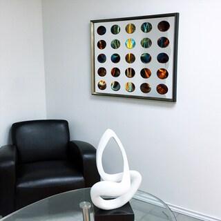 Designart Contemporary Mirror Red Vortex Framed 3D Acrylic Mirror - Silver/Grey