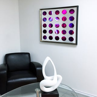 Designart Contemporary Mirror Red Stripe Framed 3D Acrylic Mirror