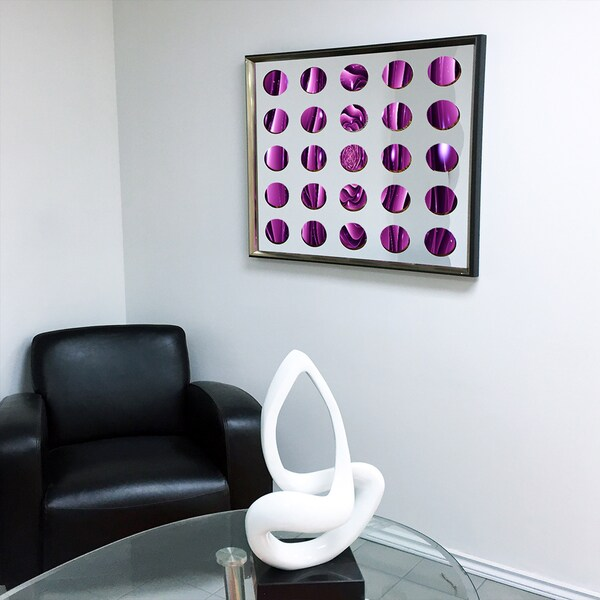 Designart Contemporary Mirror Purple Fractal Framed 3D Acrylic Mirror