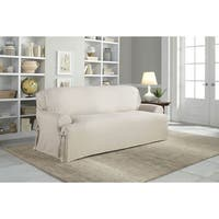 Tailor Fit Relaxed Fit Cotton Duck T-cushion Sofa Slipcover in Natural (As Is Item)