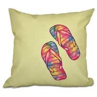 Rainbow Flip Flops Geometric Print 20-inch Throw Pillow