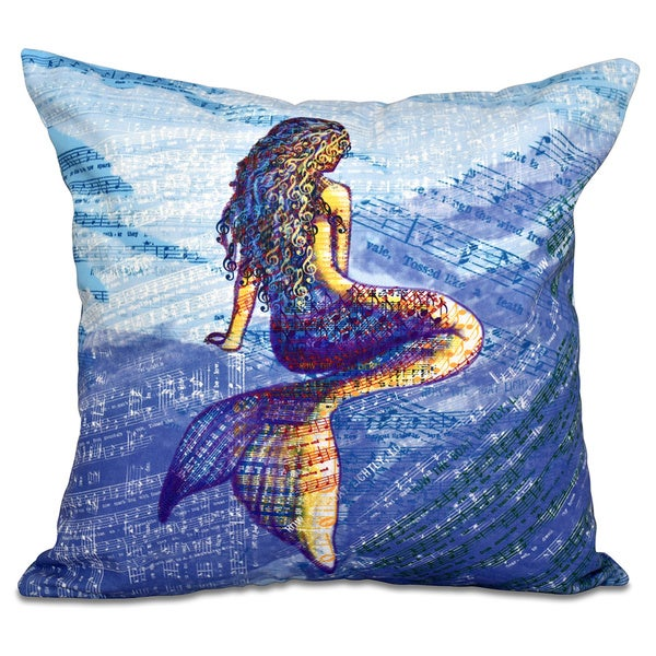 Mermaid Geometric Print 20-inch Throw Pillow