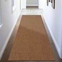 "Ottomanson Jardin Collection Natural Cream Solid Design Indoor / Outdoor Jute Backing Runner Rug (2'7""x7'0"")"