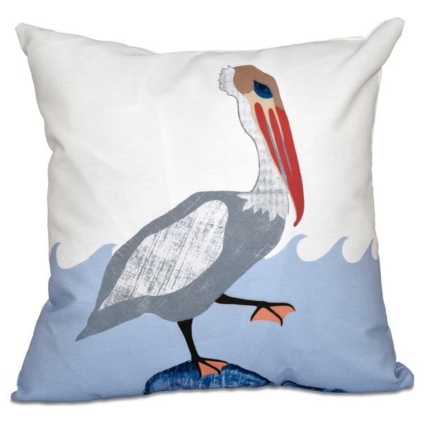 Bird Wave Animal Print 20-inch Throw Pillow