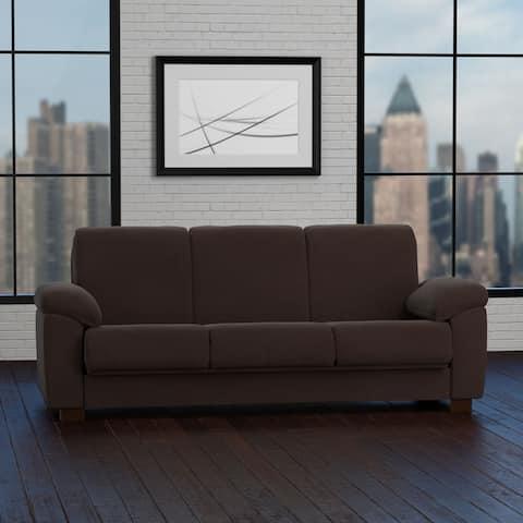 Handy Living Wrangler Convert-a-Couch Brown Pebbles Futon Sleeper Sofa