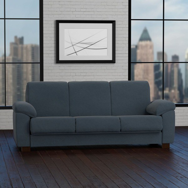 Handy Living Wrangler Convert A Couch Slate Blue Pebbles Futon Sleeper Sofa